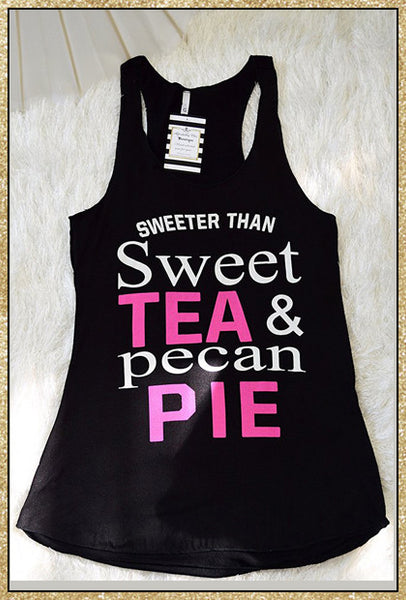 "Black ""Sweeter than sweet tea & pecan pie"" quote tank top"