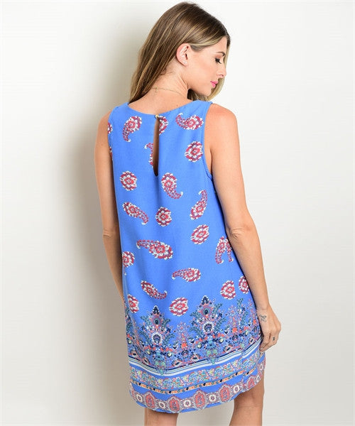 'Dreaming Of You' Blue Multi Colored Dress