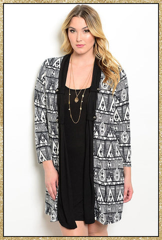 Plus size black dress and black and white design attached cardigan