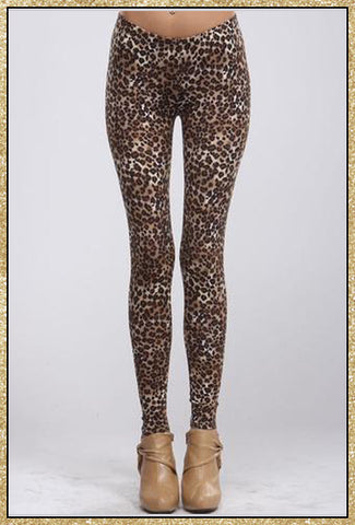 Brown leopard print legging pants