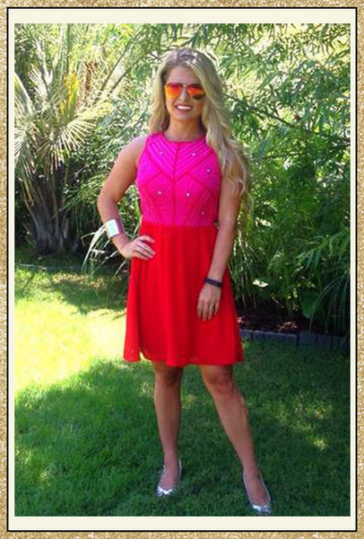 Hot pink and red sleeveless dress with mid-back cutout