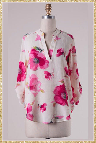 Cream and pink 3/4 sleeve floral top