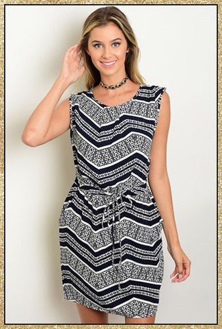 Sleeveless navy blue and white semi chevron print short dress with waist tie and side pockets
