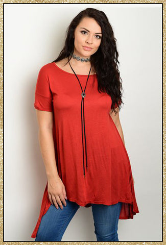 Rust orange short sleeve curvy tunic top for plus size