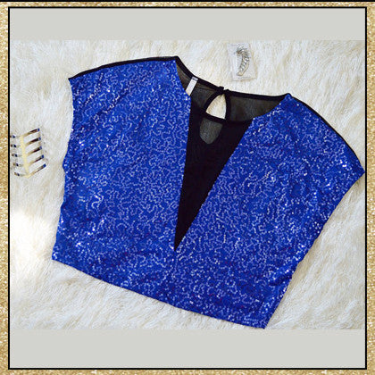 Royal blue sequin and black mesh sleeveless crop top
