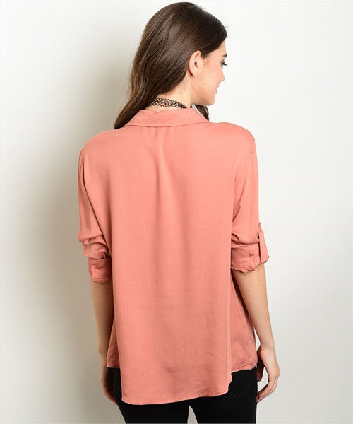 'Casual Convo' Dark Apricot Lace Up Top