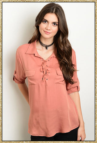 Dark apricot 3/4 sleeve collared top with front tie
