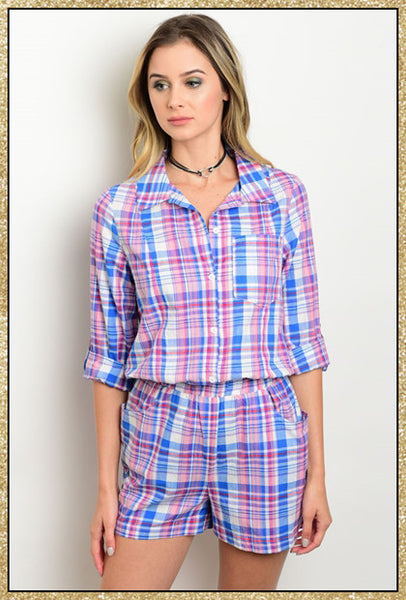 Pink, blue and white plaid 3/4 sleeve button up collared romper