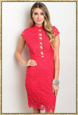 Raspberry red lace midi dress with cut out detail down chest, mock neck and capped sleeves