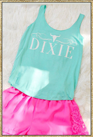 """DIXIE"" mint tank top"