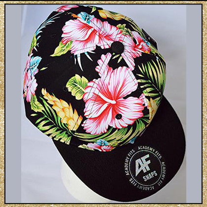 Black multi-colored tropical floral print snapback hat
