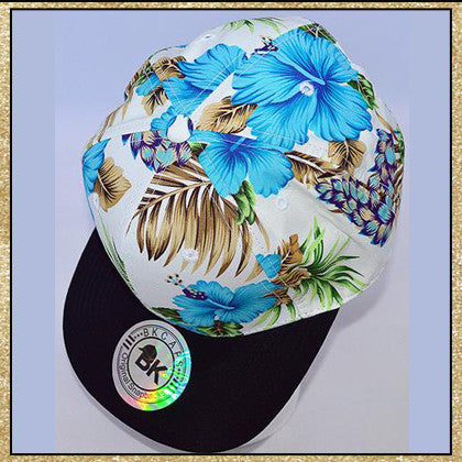 White blue tropical floral print snapback hat