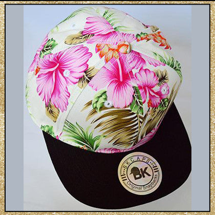 White pink tropical floral print snapback hat
