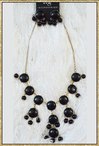 Black and gold bubble necklace and earrings set
