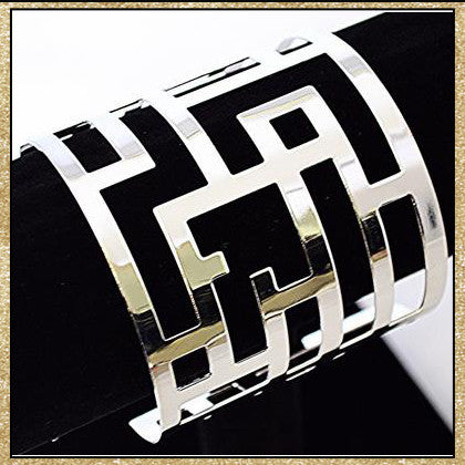 Silver and gold maze cuff bracelets