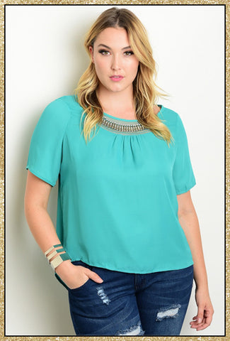 Mint plus size short sleeve top with embellishments along scoop neckline