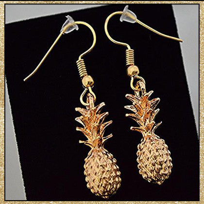 Pineapple Earrings-Gold