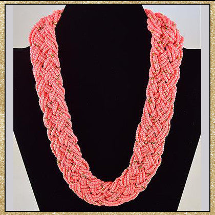 Salmon Beaded Necklace