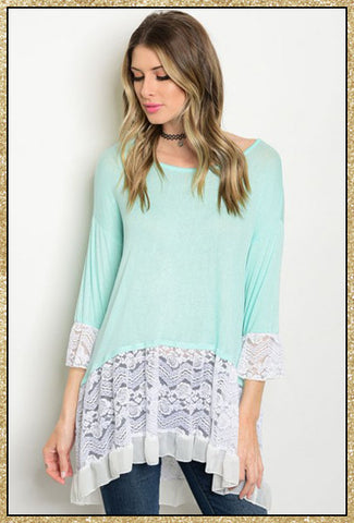 Mint and white 3/4 sleeve lightweight top with lace olong the bottom and sleeves