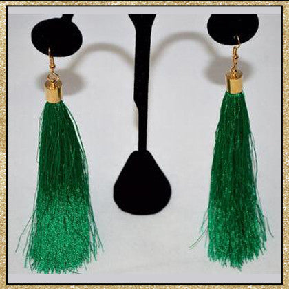 Multi-colored long tassel earrings