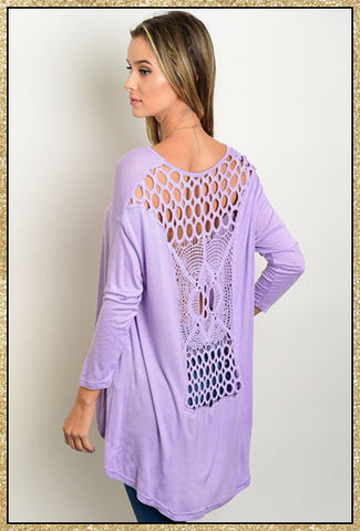 Lavender 3/4 sleeve top with crochet back detail