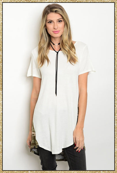Ivory and camo short sleeve tunic top