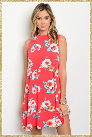 Deep coral mock neck sleeveless floral tunic dress