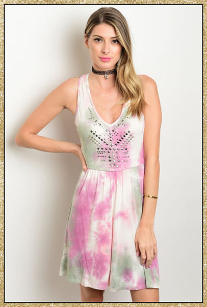 Cream, purple and green tie dye short dress with criss-cross back design