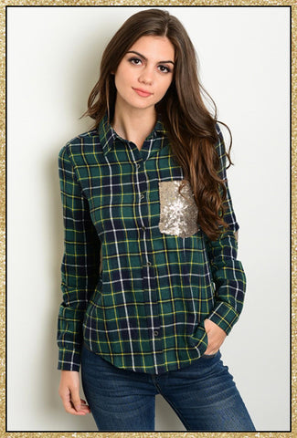 Navy blue and green plaid button up collared top with gold sequin front pocket