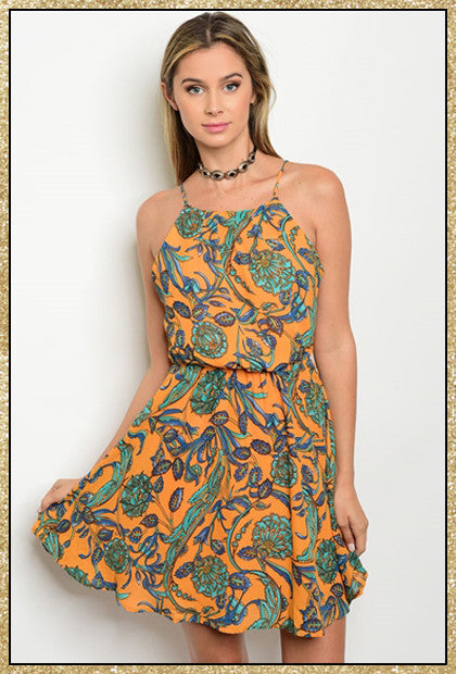 Orange and mint floral design short dress