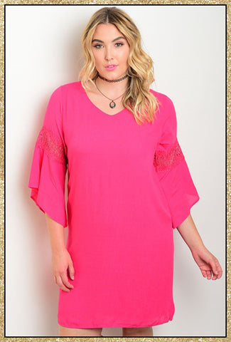Hot pink plus size 3/4 belled sleeve dress with crochet details on arms