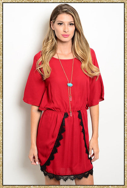 Red short sleeve dress with back lace details