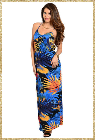 Spaghetti strap multi-colored palm tree print maxi dress with criss-cross tie design in the back
