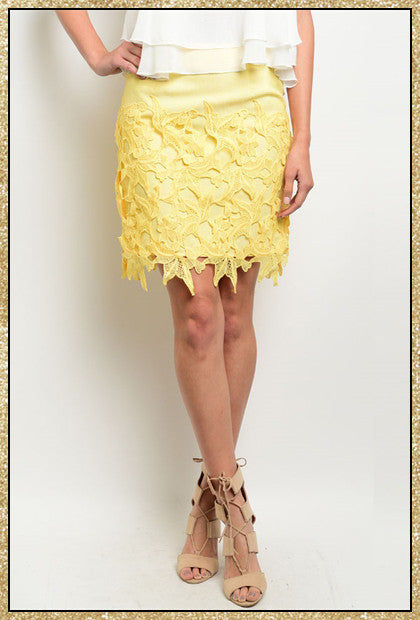 Yellow floral crochet design skirt with side zip