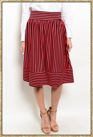Dark coral and black striped knee length skirt with back zip