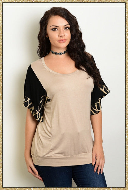 Tan and black short sleeve plus size top