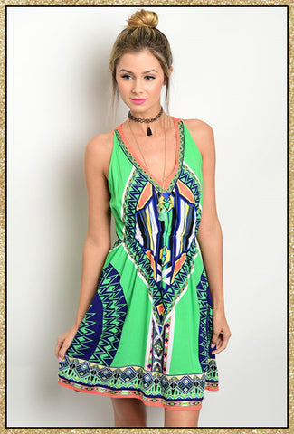 Multi-colored dress with v neck and upper back design