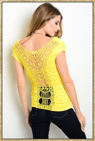 Yellow sleeveless runched front top with crochet back detail down the back