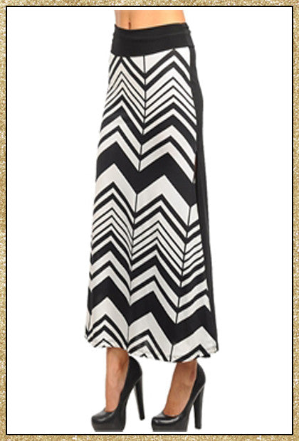 White and black chevron maxi skirt