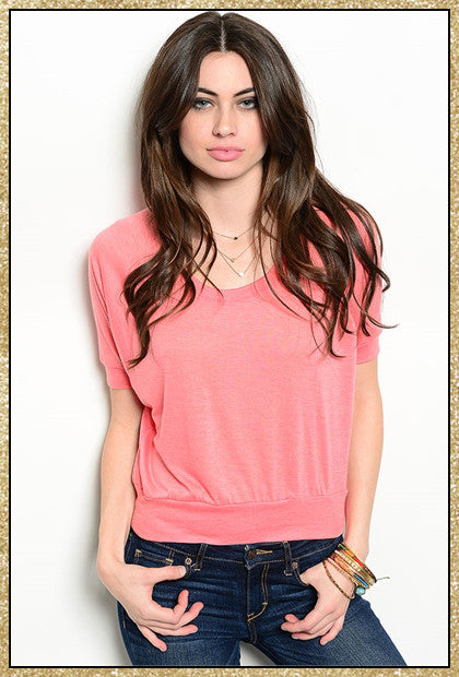 Pink short sleeve crop top