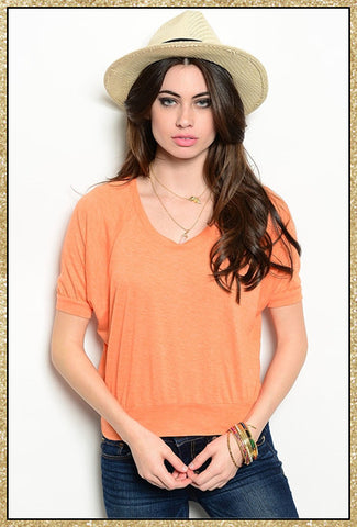 Tangerine short sleeve crop top
