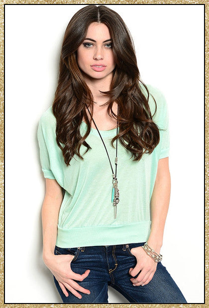 Seafoam short sleeve crop top