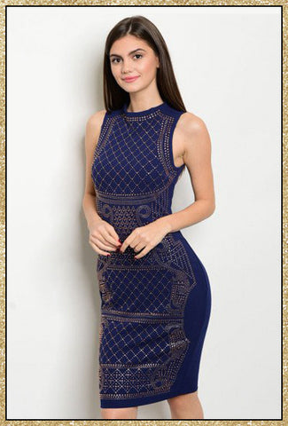 Navy blue sleeveless bodycon midi dress with studded detailing all along the front