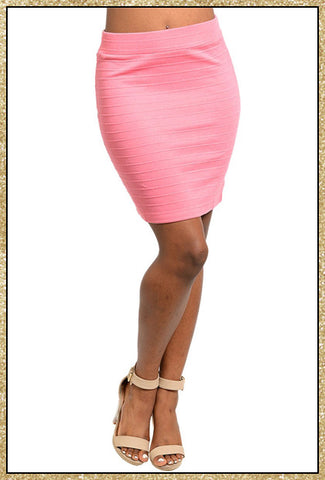 Pink bodycon short skirt