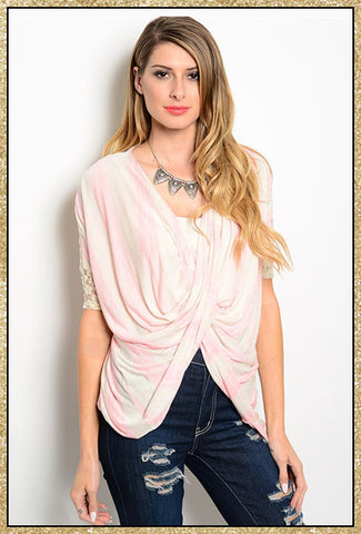 Light pink and beige striped drape front 3/4 sleeve shirt
