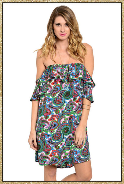 Multi-colored paisley print off shoulder dress