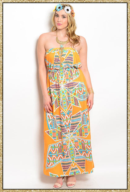 Plus size multi-colored strapless maxi dress with side slit