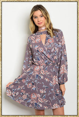 Dark lavender long sleeve floral print short dress with keyhole neckline