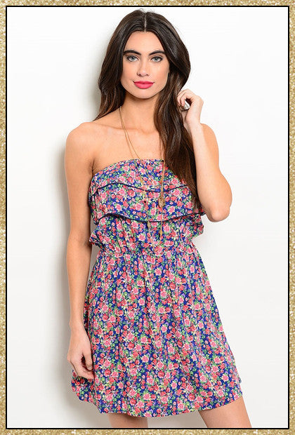 Blue and pink floral strapless dress with bow tie on the back