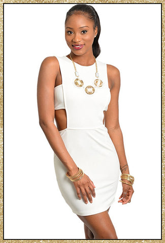 Ivory sleeveless cutout design short dress